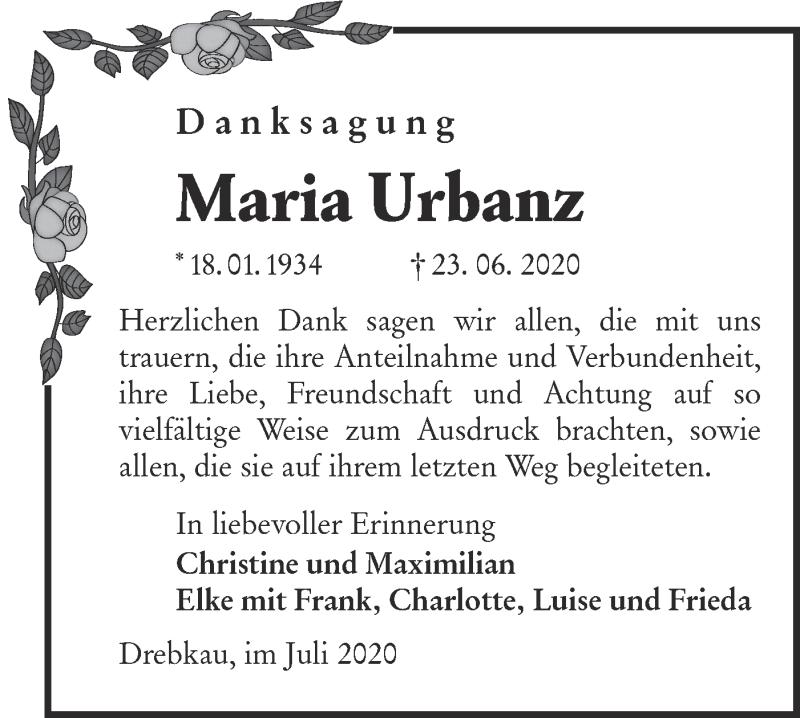 Traueranzeige für Maria Urbanz vom 25.07.2020 aus lausitzer_rundschau
