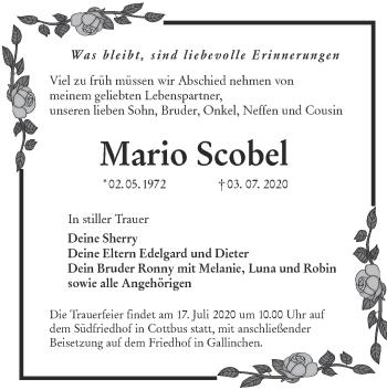 Traueranzeige von Mario Scobel von lausitzer_rundschau