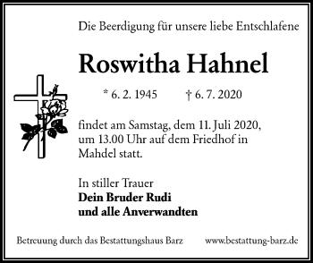Traueranzeige von Roswitha Hahnel von lausitzer_rundschau