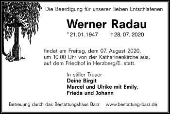 Traueranzeige von Werner Radau von lausitzer_rundschau