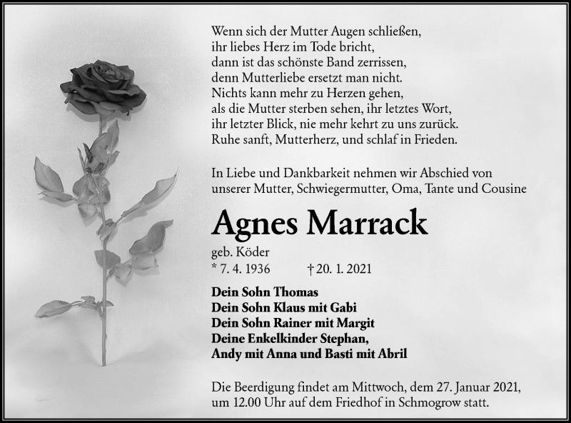 Traueranzeige für Agnes Marrack vom 23.01.2021 aus lausitzer_rundschau