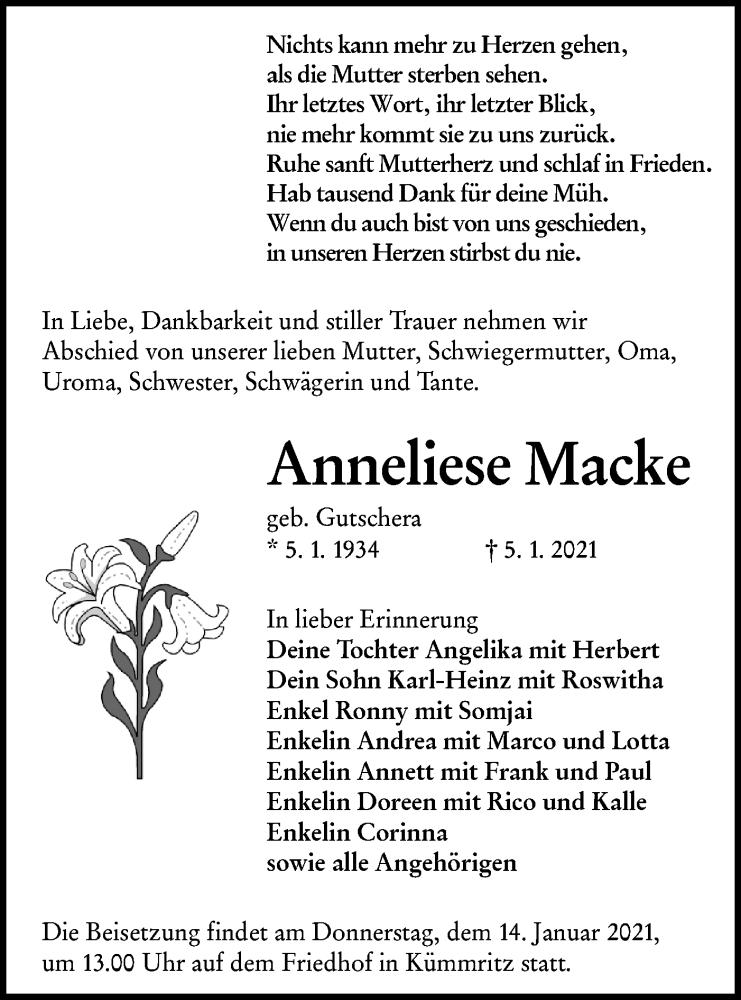 Traueranzeige für Anneliese Macke vom 09.01.2021 aus lausitzer_rundschau