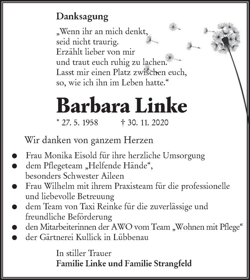 Traueranzeige für Barbara Linke vom 16.01.2021 aus lausitzer_rundschau