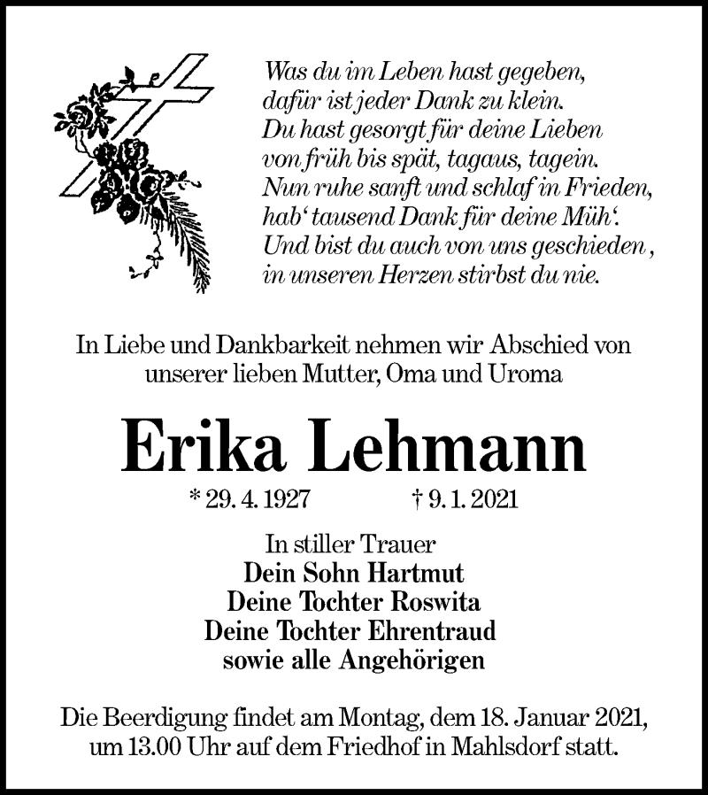 Traueranzeige für Erika Lehmann vom 13.01.2021 aus lausitzer_rundschau