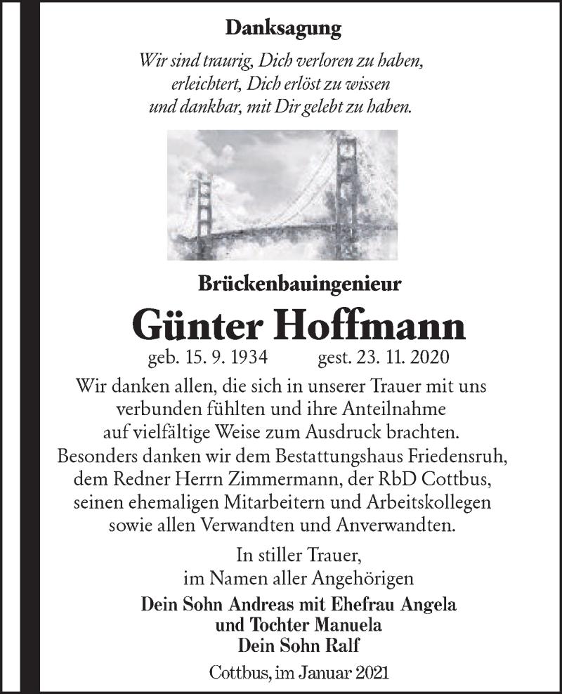 Traueranzeige für Günter Hoffmann vom 23.01.2021 aus lausitzer_rundschau
