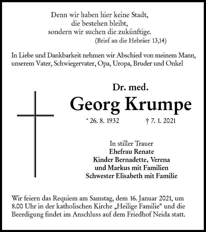 Traueranzeige für Georg Krumpe vom 13.01.2021 aus lausitzer_rundschau