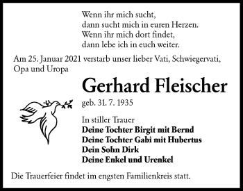 Traueranzeige von Gerhard Fleischer von lausitzer_rundschau