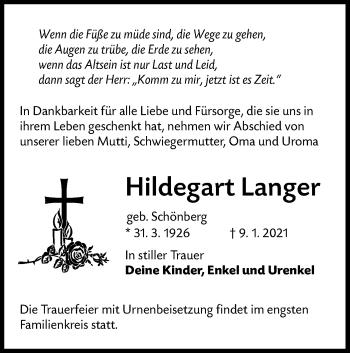 Traueranzeige von Hildegart Langer von lausitzer_rundschau