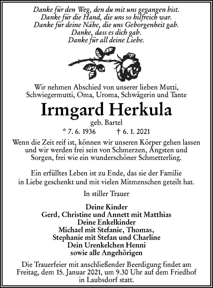Traueranzeige für Irmgard Herkula vom 12.01.2021 aus lausitzer_rundschau