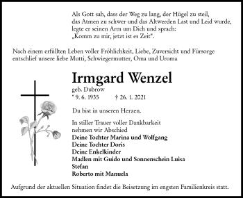 Traueranzeige von Irmgard Wenzel von lausitzer_rundschau