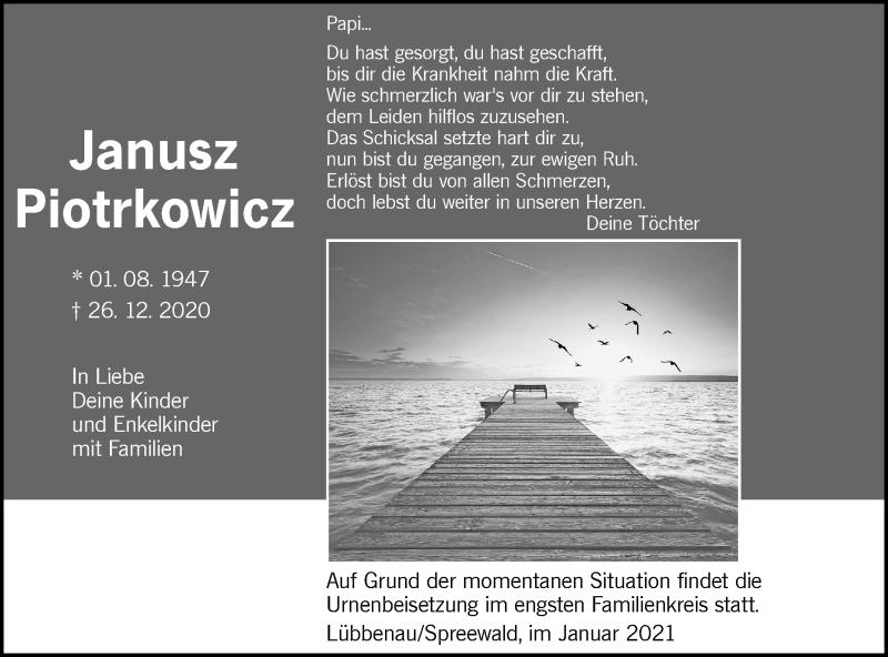 Traueranzeige für Janusz Piotrkowicz vom 09.01.2021 aus lausitzer_rundschau