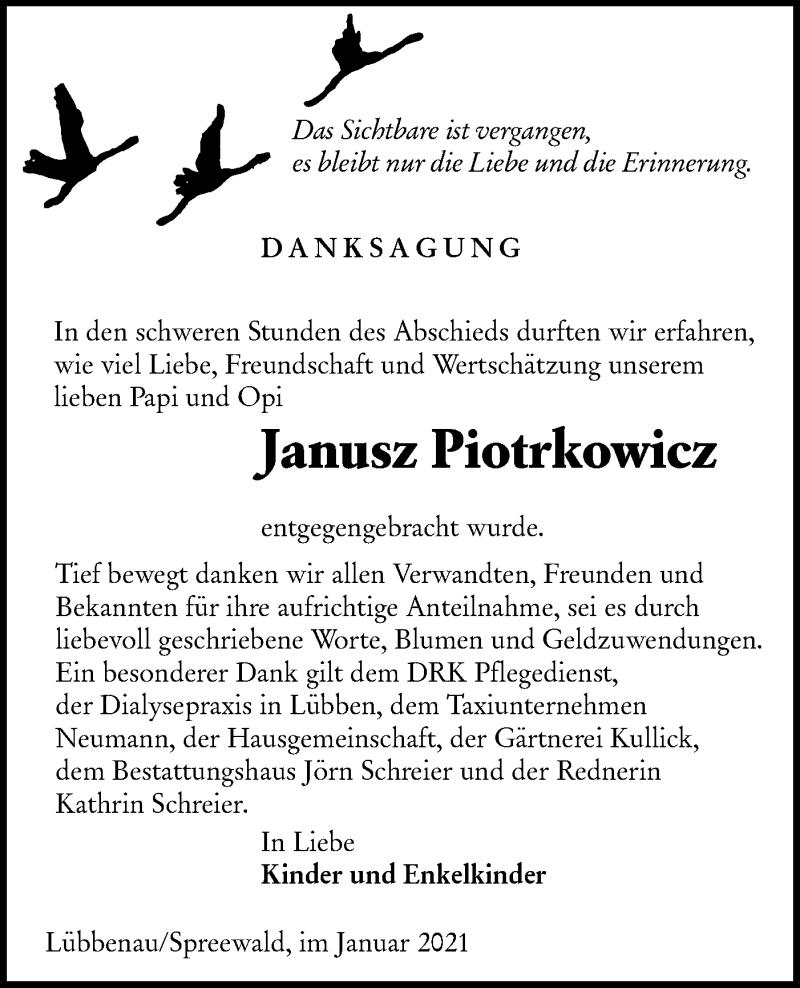 Traueranzeige für Janusz Piotrkowicz vom 30.01.2021 aus lausitzer_rundschau