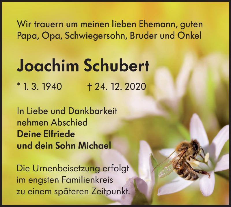 Traueranzeige für Joachim Schubert vom 02.01.2021 aus lausitzer_rundschau