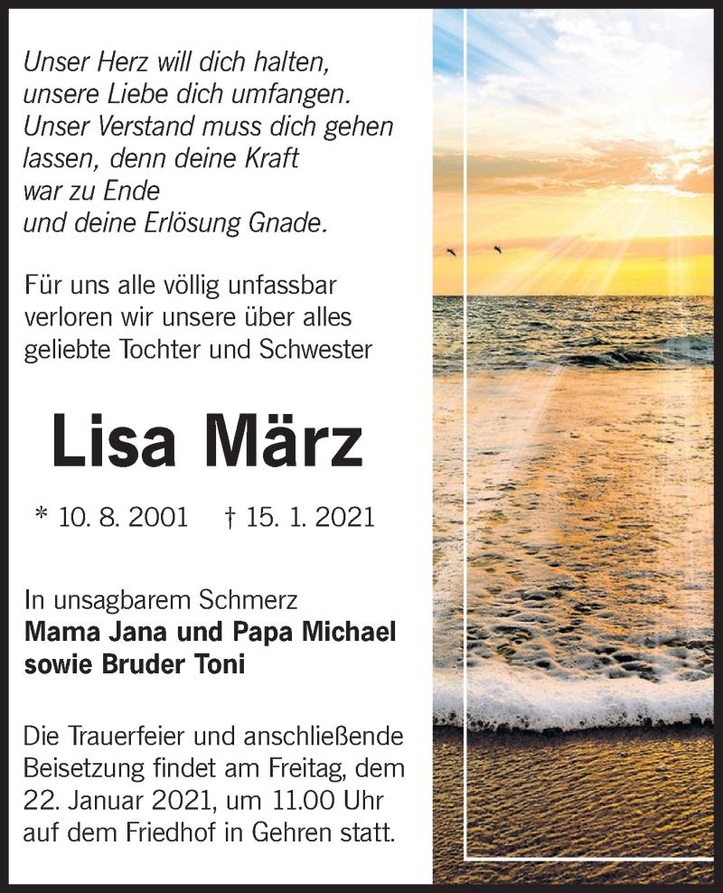 Traueranzeige für Lisa März vom 19.01.2021 aus lausitzer_rundschau