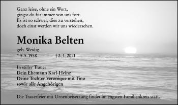 Traueranzeige von Monika Belten von lausitzer_rundschau