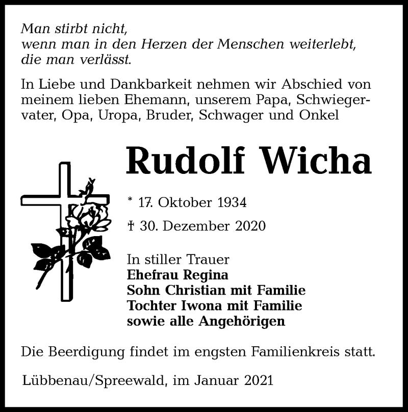 Traueranzeige für Rudolf Wicha vom 09.01.2021 aus lausitzer_rundschau