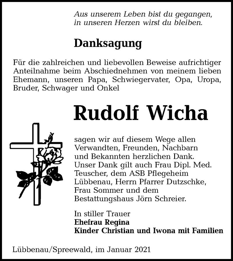 Traueranzeige für Rudolf Wicha vom 23.01.2021 aus lausitzer_rundschau