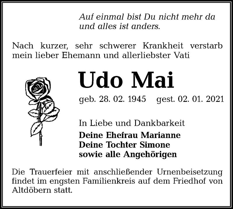 Traueranzeige für Udo Mai vom 09.01.2021 aus lausitzer_rundschau