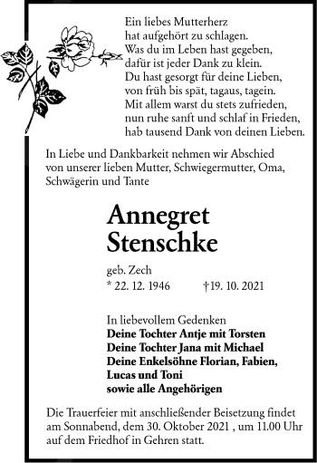 Traueranzeige von Annegret Stenschke von lausitzer_rundschau
