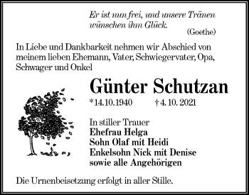 Traueranzeige von Günter Schutzan von lausitzer_rundschau