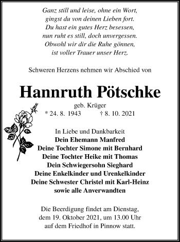 Traueranzeige von Hannruth Pötschke von lausitzer_rundschau