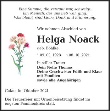 Traueranzeige von Helga Noack von lausitzer_rundschau