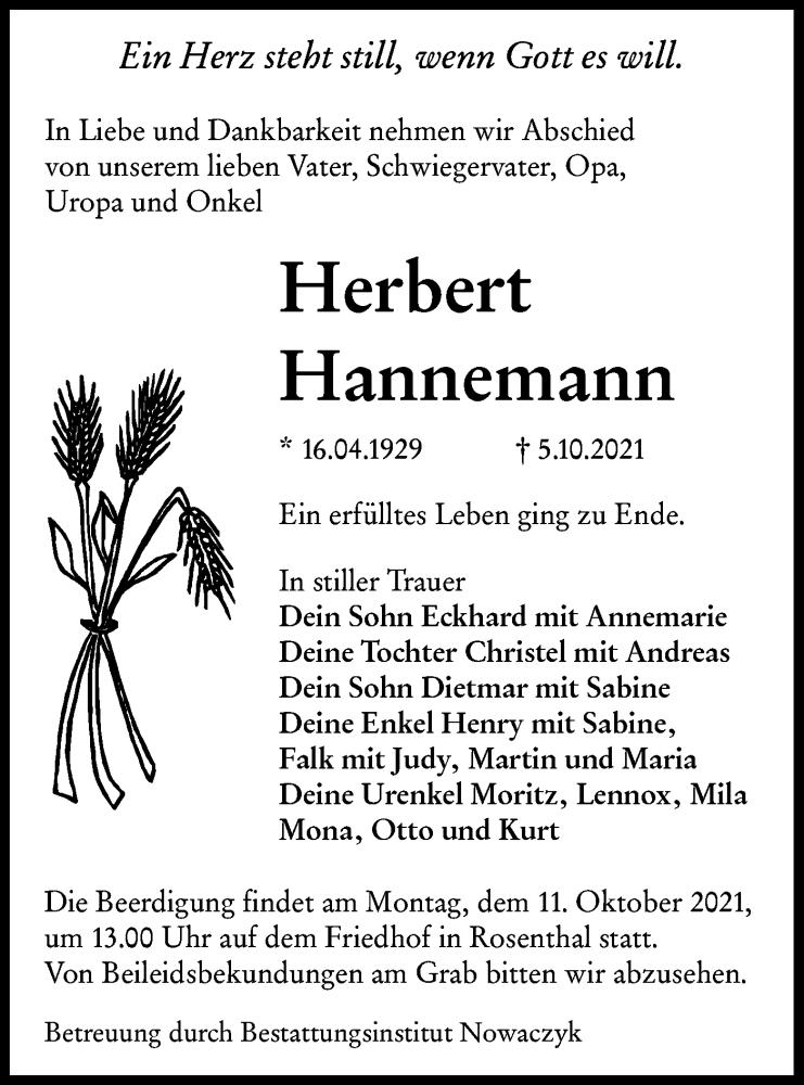 Traueranzeige für Herbert Hannemann vom 07.10.2021 aus lausitzer_rundschau