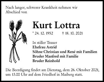 Traueranzeige von Kurt Lottra von lausitzer_rundschau