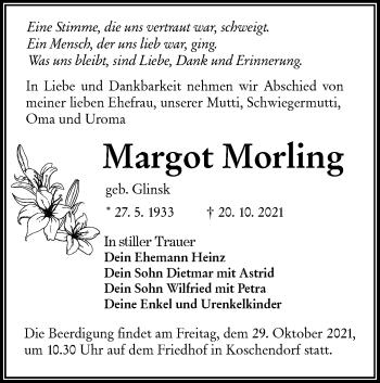 Traueranzeige von Margot Morling von lausitzer_rundschau