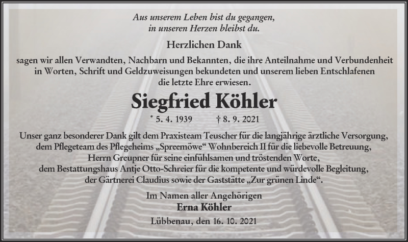 Traueranzeige für Siegfried Köhler vom 23.10.2021 aus lausitzer_rundschau