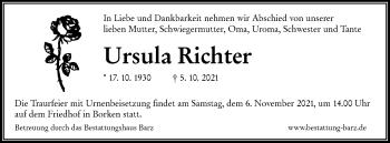 Traueranzeige von Ursula Richter von lausitzer_rundschau