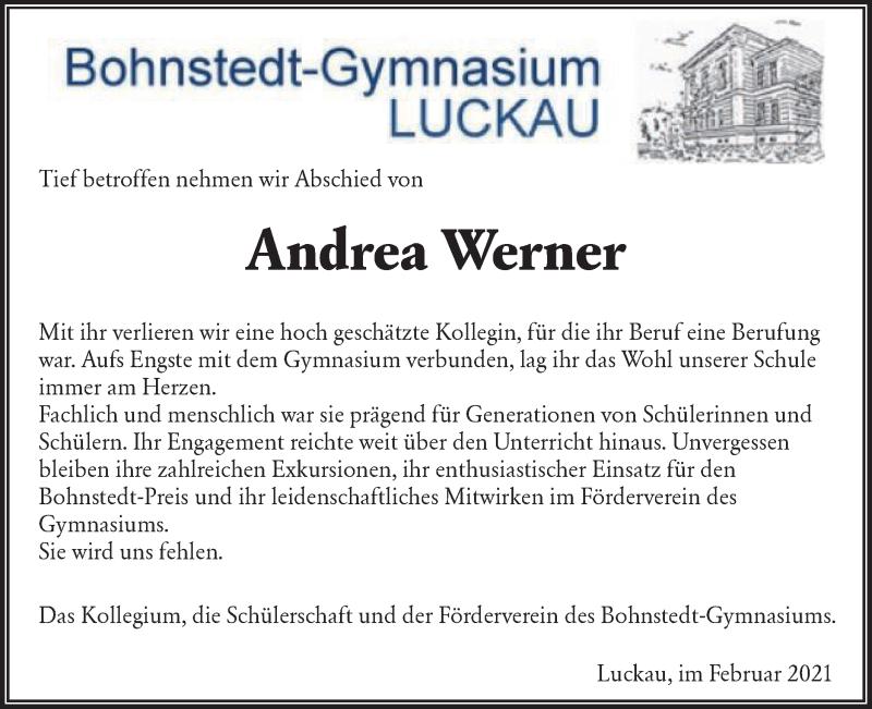 Traueranzeige für Andrea Werner vom 27.02.2021 aus lausitzer_rundschau
