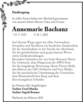 Traueranzeige von Annemarie Bachani von lausitzer_rundschau