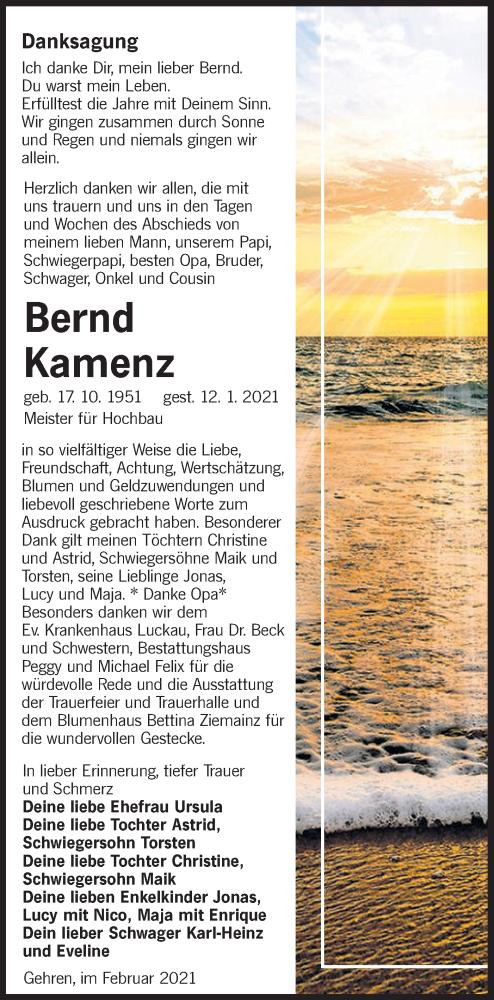 Traueranzeige für Bernd Kamenz vom 27.02.2021 aus lausitzer_rundschau