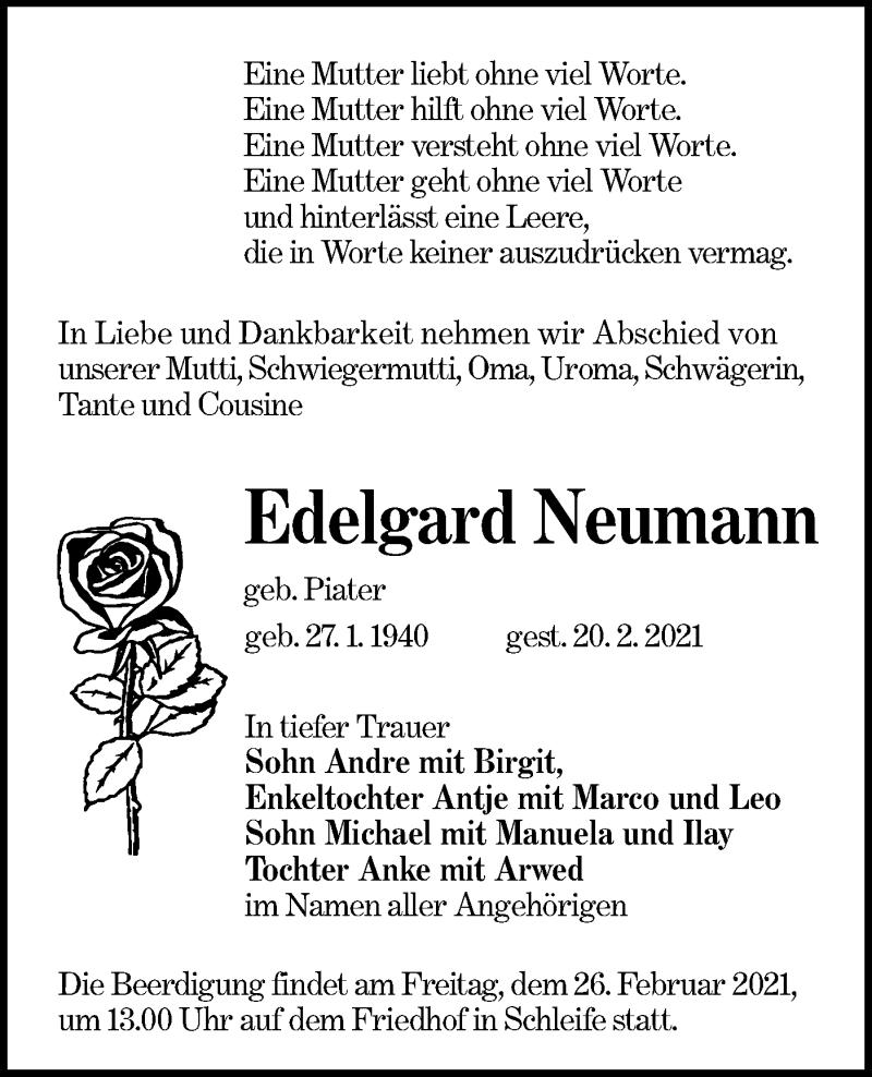 Traueranzeige für Edelgard Neumann vom 23.02.2021 aus lausitzer_rundschau
