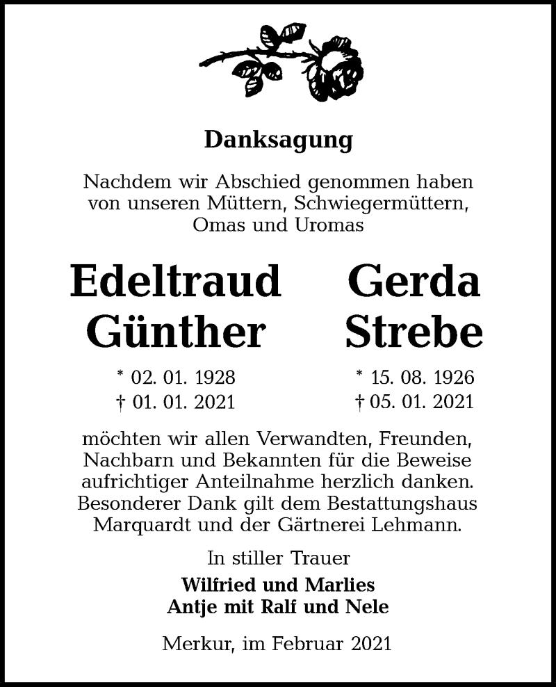 Traueranzeige für Edeltraud und Gerda  vom 20.02.2021 aus lausitzer_rundschau