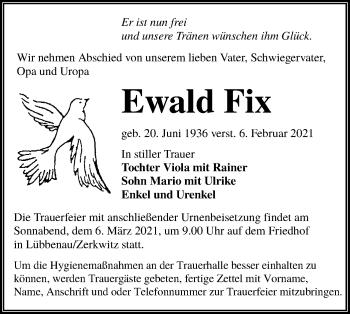 Traueranzeige von Ewald Fix von lausitzer_rundschau