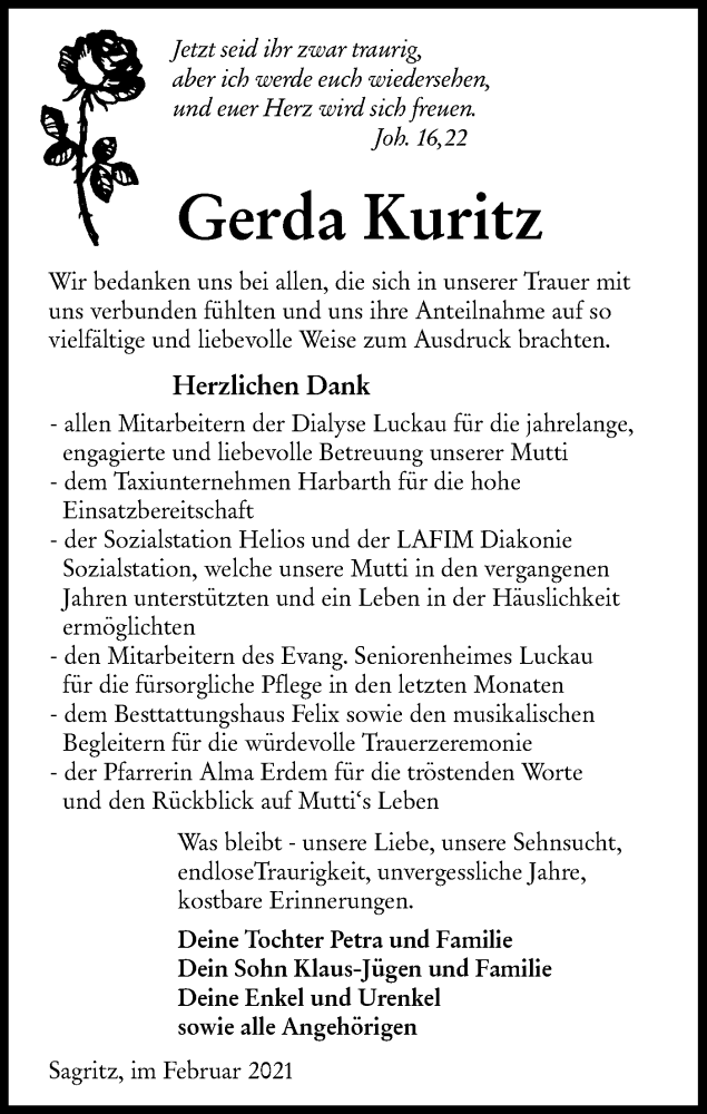 Traueranzeige für Gerda Kuritz vom 27.02.2021 aus lausitzer_rundschau
