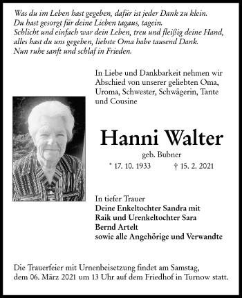 Traueranzeige von Hanni Walter von lausitzer_rundschau