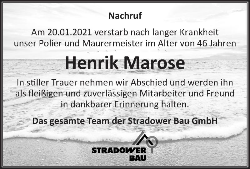 Traueranzeige für Henrik Marose vom 06.02.2021 aus lausitzer_rundschau