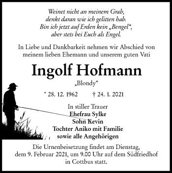 Traueranzeige von Ingolf Hofmann von lausitzer_rundschau