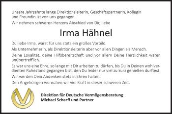 Traueranzeige von Irma Hähnel von lausitzer_rundschau
