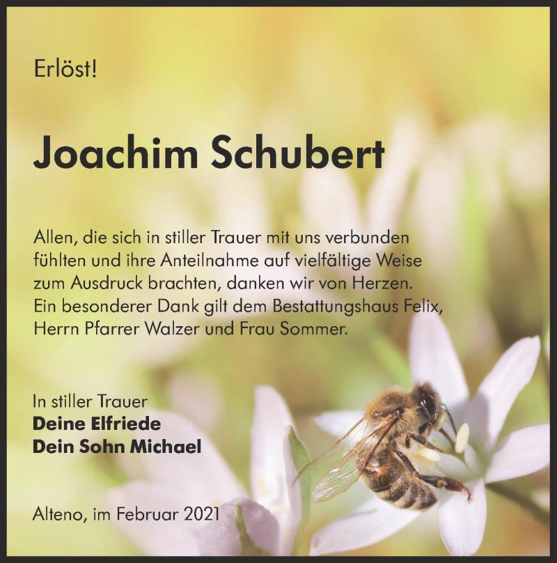 Traueranzeige für Joachim Schubert vom 13.02.2021 aus lausitzer_rundschau