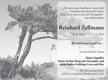 Traueranzeige von Reinhard Zellmann von lausitzer_rundschau