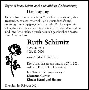 Traueranzeige von Ruth Schimtz von lausitzer_rundschau