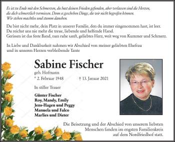 Traueranzeige von Sabine Fischer von lausitzer_rundschau