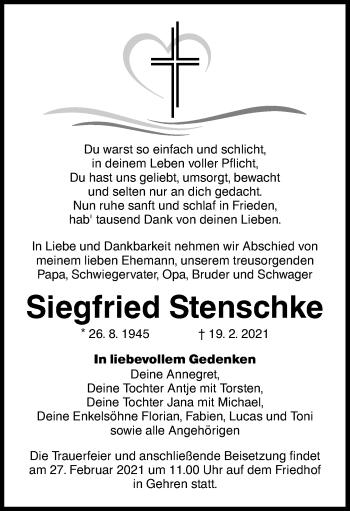 Traueranzeige von Siegfried Stenschke von lausitzer_rundschau