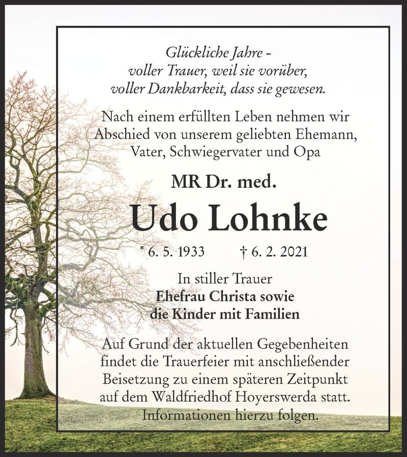 Traueranzeige für Udo Lohnke vom 20.02.2021 aus lausitzer_rundschau