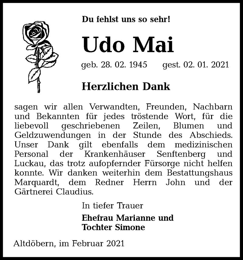Traueranzeige für Udo Mai vom 20.02.2021 aus lausitzer_rundschau
