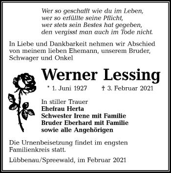 Traueranzeige von Werner Lessing von lausitzer_rundschau